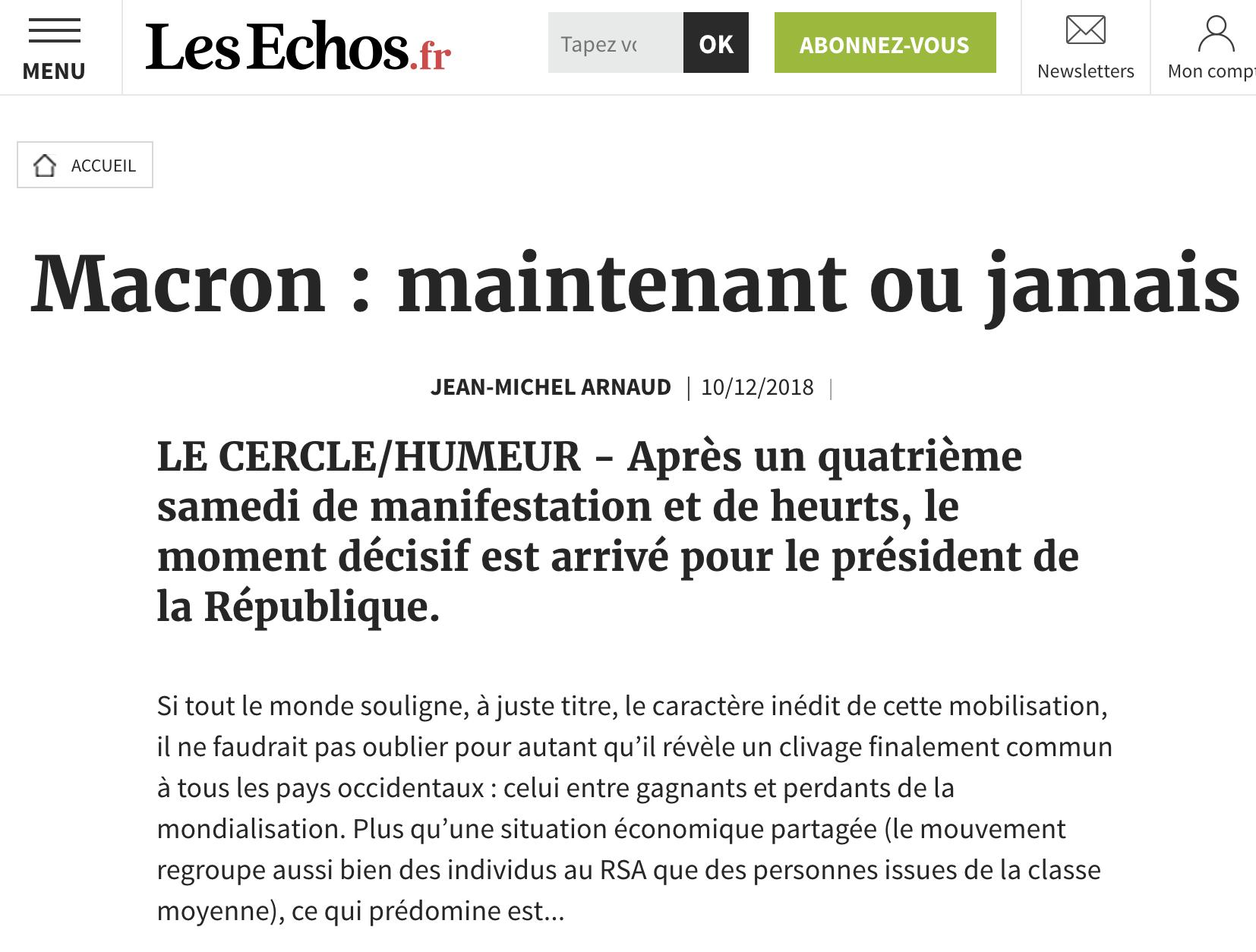 Macron : maintenant ou jamais