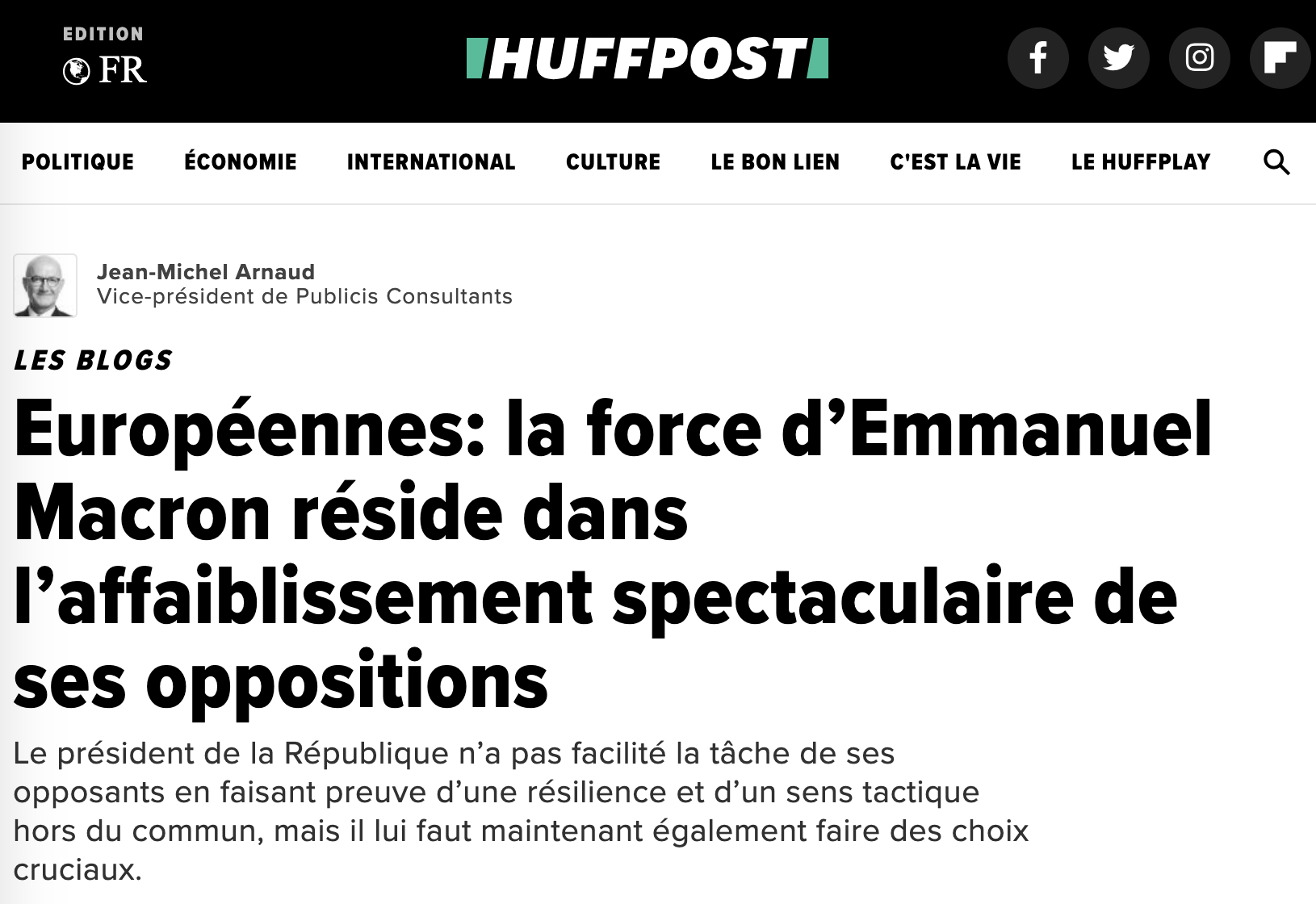 Européennes: la force d'Emmanuel Macron réside dans l'affaiblissement spectaculaire de ses oppositions